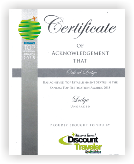The Oxford Lodge Certificate of Acknowledgement - Sanlam